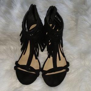 Just Fab- Black Fringe wedge Sandals